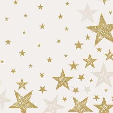 40x feest servetten kerst creme wit/goud sterretjes print 33 x 33 cm