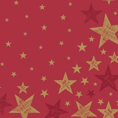 40x feest servetten kerst rood/goud sterretjes print 33 x 33 cm