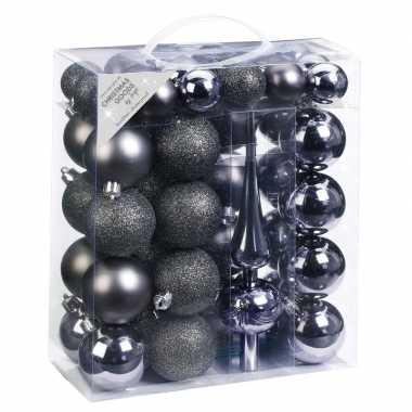 47x kunststof kerstballen pakket met piek donkergrijs tinten