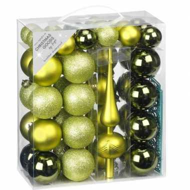 47x kunststof kerstballen pakket met piek groen