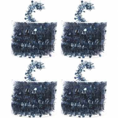 4x blauwe kerstboom folie slingers met ster 700 cm