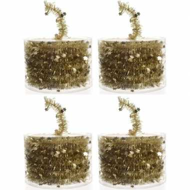 4x gouden kerstboomslingers 700 cm