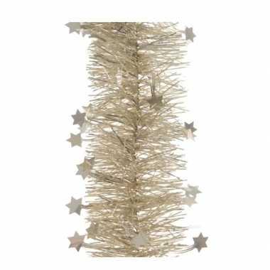 4x kerst lametta guirlandes licht parel/champagne sterren/glinsterend