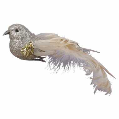 4x kerstboomversiering glitter champagne vogeltjes op clip 17 cm