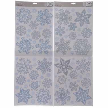 4x kerstversiering sneeuwvlok raamstickers 30 x 42 cm