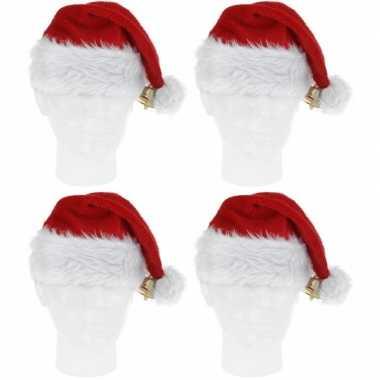 4x pluche kerstmutsen met bel deluxe