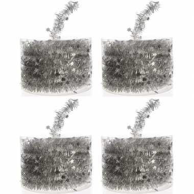 4x zilveren kerstboomslingers 700 cm