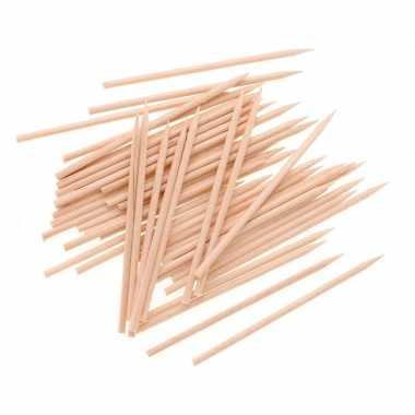 50 houten knutsel sateprikkerstokjes 25 cm