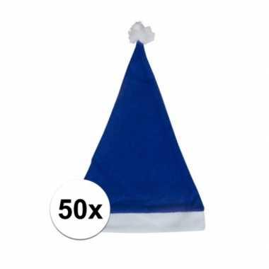 50x blauwe budget kerstmuts voor volwassenen