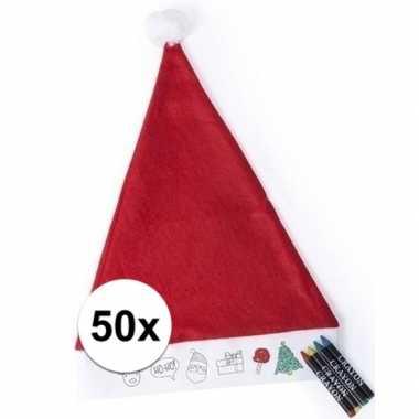 50x hobby kerstmutsen inkleurbaar met waskrijtjes voor jongens/meisje
