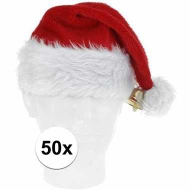 50x pluche kerstmutsen met bel deluxe