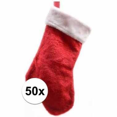 50x pluche kerstsokken 40 cm rood/wit