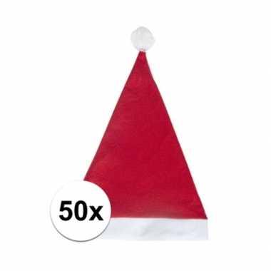 50x rode budget kerstmuts voor volwassenen