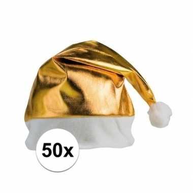 50x stuks kerstmutsen glimmend goud