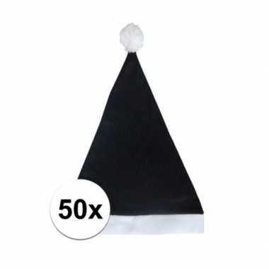 50x zwarte budget kerstmuts voor volwassenen