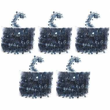 5x blauwe kerstboom folie slingers met ster 700 cm