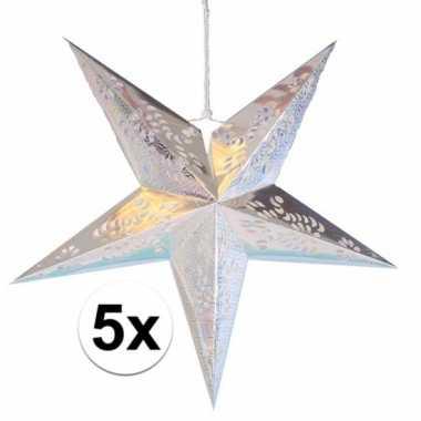 5x decoratie kerst sterren zilver 60 cm