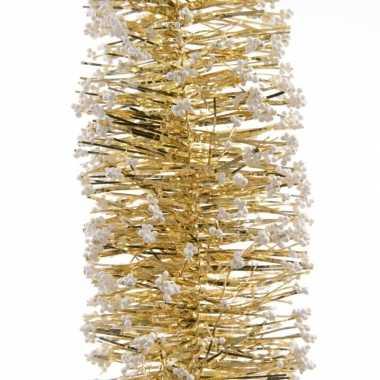 5x gouden kerstboom folie slingers met sneeuw 200 cm
