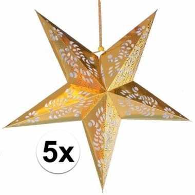 5x kerstartikelen decoratie sterren goud van 60 cm