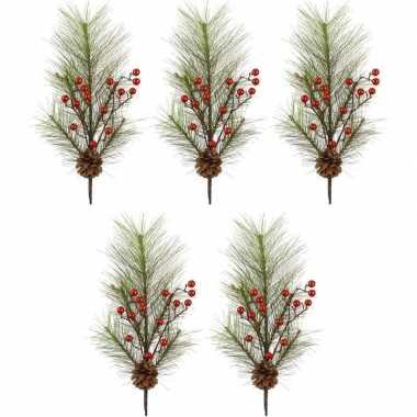 5x kersttakken met rode besjes 60 cm
