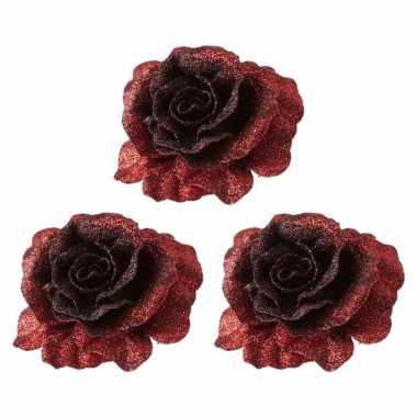 5x kerstversieringen glitter roos rood op clip 10 cm