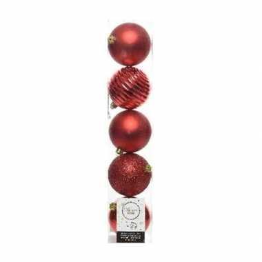 5x kunststof kerstballen mix zwart 8 cm kerstboom versiering/decorati