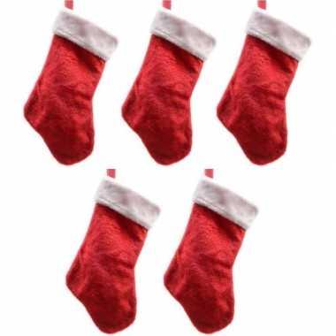 5x pluche kerstsokken 40 cm rood/wit