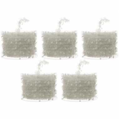 5x witte kerstboom folie slingers met ster 700 cm