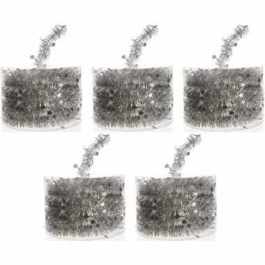 5x zilveren kerstboomslingers 700 cm
