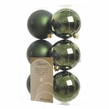 6-delige kerstballen set groen