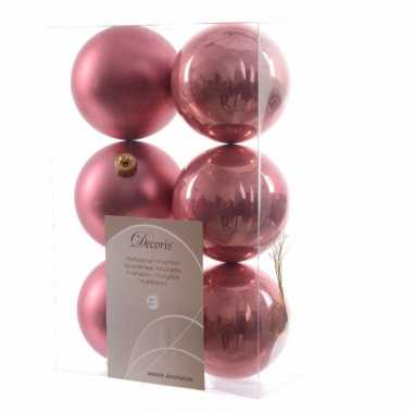 6-delige kerstballen set oud roze