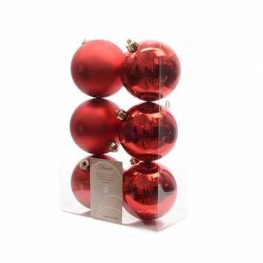 6-delige kerstballen set rood