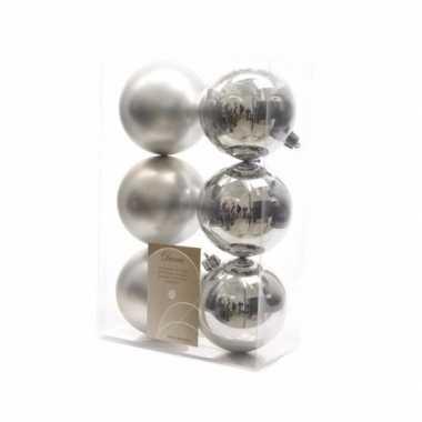 6-delige kerstballen set zilver