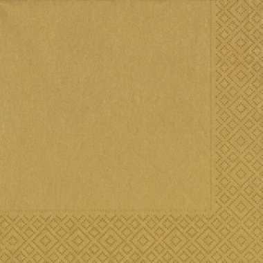 60x feest servetten kerst goud 33 x 33 cm