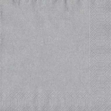 60x feest servetten kerst zilver 33 x 33 cm