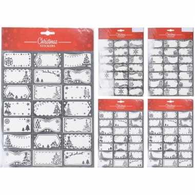 63x kerstcadeautjes naamstickers/naam etiketten zilver