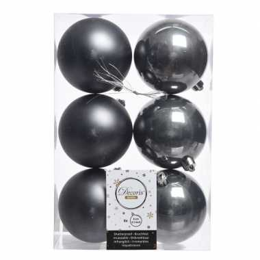 6x antraciet kerstballen van kunststof 8 cm