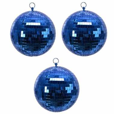 6x blauwe spiegelballen disco kerstballen 8 cm