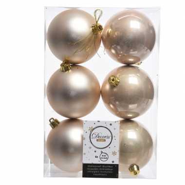 6x creme kerstballen van kunststof 8 cm
