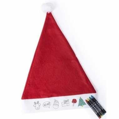 6x hobby kerstmutsen inkleurbaar met waskrijtjes voor jongens/meisjes