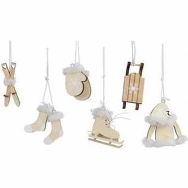 6x kerst hangdecoratie beige houten figuren 12 cm