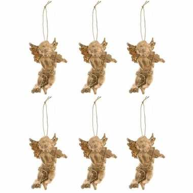 6x kerst hangdecoratie gouden engeltje met viool muziekinstrument 10 cm