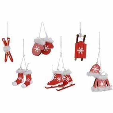 6x kerst hangdecoratie rode houten figuren 12 cm