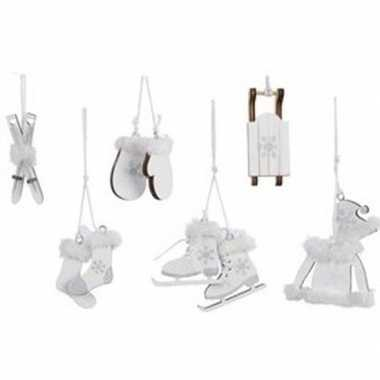 6x kerst hangdecoratie witte houten figuren 12 cm