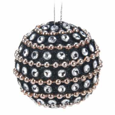6x kerstballen met steentjes 3,5 cm