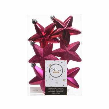 6x kerstballen stervormig fuchsia roze kunststof