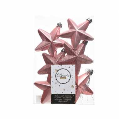 6x kerstballen stervormig oud roze kunststof