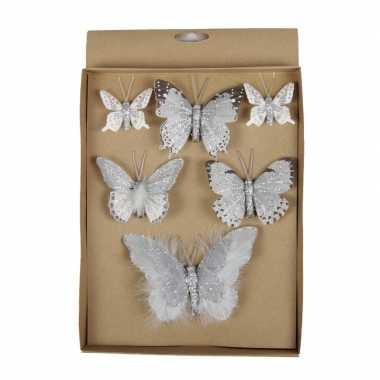 6x kerstversiering vlinders op clip grijs 5, 8, 12 cm
