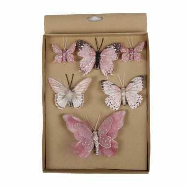 6x kerstversiering vlinders op clip roze