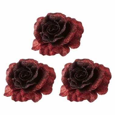 6x kerstversieringen glitter roos rood op clip 10 cm